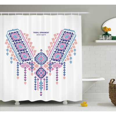 Kristina Tribal Ethnic African Geometric Design Aztec Style Bohemian Festive Print Shower Curtain Size: 69 W x 70 H