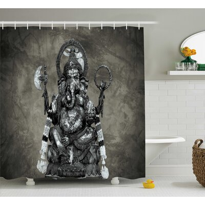 Howe Indian Majestic Elephant Statue Picture Stone Wall Background Ethnic Idol Sage Print Shower Curtain Size: 69