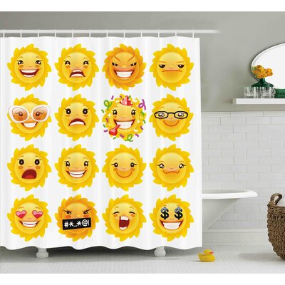 Ann Emoji Smiley Surprised Sad Hot Happy Sarcastic Angry Mood Sun Like Faces Plain Backdrop Print Shower Curtain Size: 69 W x 75 H