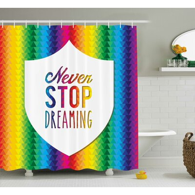 Rian Quotes Digital Bound Little Triangles Rainbow Colors Futuristic Geometric Work Motivation Shower Curtain Size: 69 W x 75 H