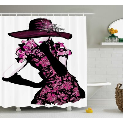 Anita Woman Furry Hat and Floral Dress Nostalgic Magazine Catwalk Look God Decor Shower Curtain Size: 69 W x 75 H