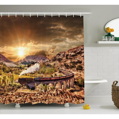 Mcdowell School Express Famous Train Landscape Glenfinnan Railway Viaduct Scotland Sunset Shower Curtain Size: 69 W x 70 H