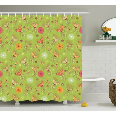 Sheree Bluebell Flower Motifs With Peony Funky Fashioned Boho Retro Artsy Print Shower Curtain Size: 69 W x 75 H