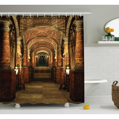 Ancient Passage With Stairway Gateway Mystic Pillar Medieval Temple Theme Shower Curtain Size: 69
