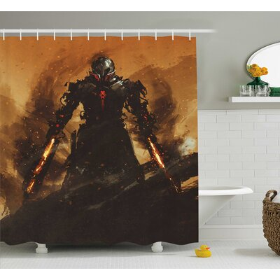 Fantasy World Robot Warrior Terminator War Fire Sword Weapon Paint Graphic Futuristic Shower Curtain Size: 69 W x 70 H