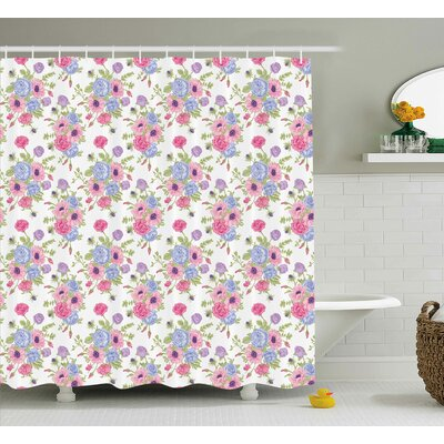 Mandel Pastel Decorations Theme Bouquet of Colorful Flowers Shabby Elegance Style Shower Curtain Size: 69 W x 84 H