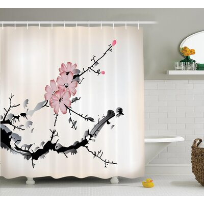 Olstykke-Stenlose Japanese Watercolors Traditional Native Blossoming Floral Temperate Zone Plant Art Shower Curtain Size: 69 W x 70 H