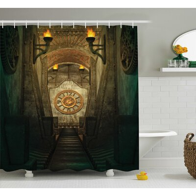 Gothic House Medieval Secret Torch and Golden Clock on Wall Mystery Shower Curtain Size: 69 W x 75 H