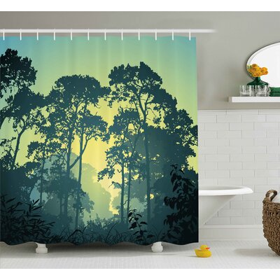 Clematite Nature Mist Forest Scenery With Tree Tops At Sunset Hazy Woodland Rural Landscape Shower Curtain Size: 69 W x 70 H
