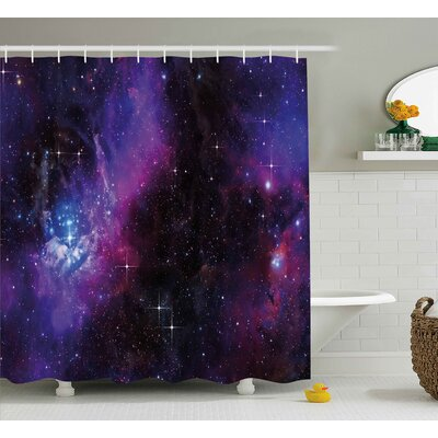 Jeannette Nebula Dark Galaxy With Luminous Stars and Cosmic Rays Astronomy Explore Theme Shower Curtain Size: 69 W x 70 H