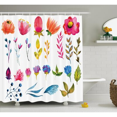 Schaefer Watercolored Decor Flowers Tulips Roses Colored Leaves Garden Design Print Shower Curtain Size: 69 W x 70 H