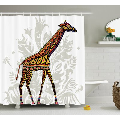 Herlev African Savannah Animal Giraffe With Ethnic Ornament Patterns on Body Creature Print Shower Curtain Size: 69