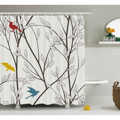 Foster Nature Birds Wildlife Cartoon Like Image With Tree Leaf Art Print Shower Curtain Size: 69 W x 70 H