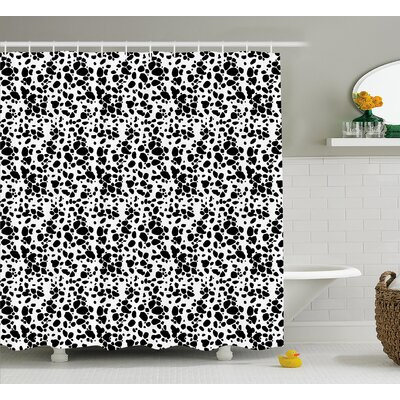 Kaster Dalmatian Dog Print Black and White Puppy Spots Fur Pattern Fun Spotted Pets Animal Decor Shower Curtain Size: 69