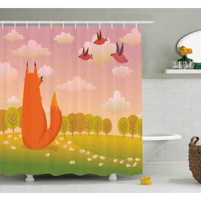 Jannie Cartoon Animal Fox Wildlife Shower Curtain Size: 69 W x 70 H