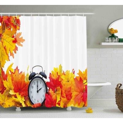 Barnes Autumn Leaves and An Alarm Clock Fall Season Theme Romantic Digital Print Shower Curtain Size: 69 W x 70 H