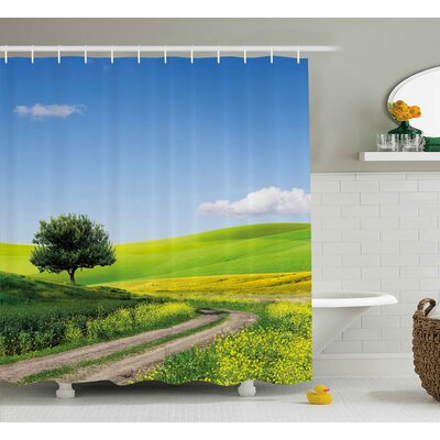 Estrada Nature Rural Country Scenery With Floral Grass Field Tree Idyllic Landscape Shower Curtain Size: 69 W x 70 H