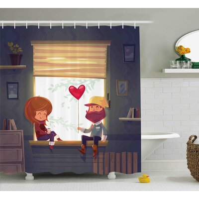 Valentines Day Valentines Lovely Romantic Couple At Home Smile and Baloon Art Print Shower Curtain Size: 69 W x 70 H