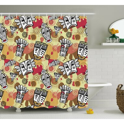 Askam Cartoon Aboriginal Masks With Feathers Sun Figures Prehistoric Tribal Art Shower Curtain Size: 69 W x 75 H