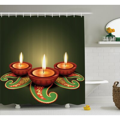 Blackburn Diwali Paisley Decor Indian Festive Celebration Diwali Candles Burning Art Print Shower Curtain Size: 69 W x 70 H