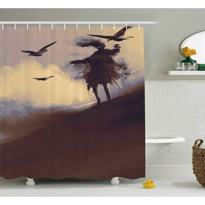 Horror Dark Soul From a Scary Movie Film on The Hills With Clouds and Flying Crows Print Shower Curtain Size: 69 W x 70 H