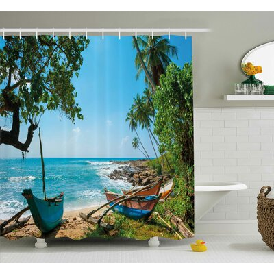 Renato Beach Tropical Ocean Scenery With Palm Trees and Fishing Boats Caribbean Landscape Shower Curtain Size: 69 W x 70 H