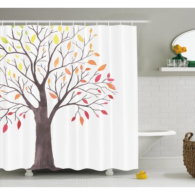 Calhoun Forest Tree With Modern Structure Leaves and Branches Cartoon Like Print Shower Curtain Size: 69