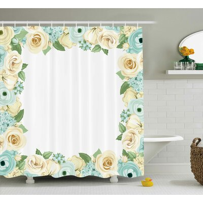 Bud Shabby Elegance Flowers Roses Leaves Buds Romantic Love Themed Frame Artwork Print Shower Curtain Size: 69 W x 84 H