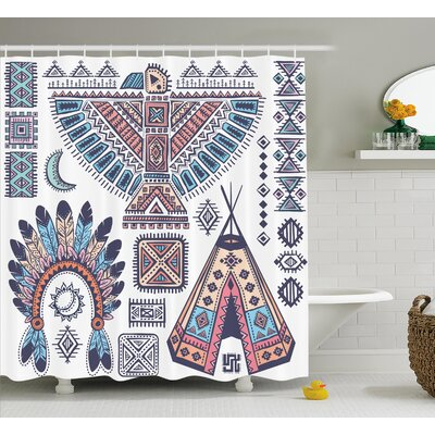 Iris Tribal Indian Teepee Tent Eagle Symbol Moon Sun and Feather Chief Hat Print Shower Curtain Size: 69 W x 70 H