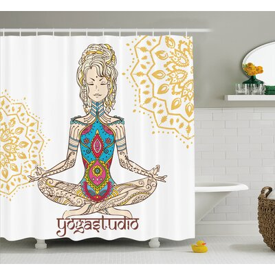 Hanson Chakra Girl Shower Curtain Size: 69 W x 70 H