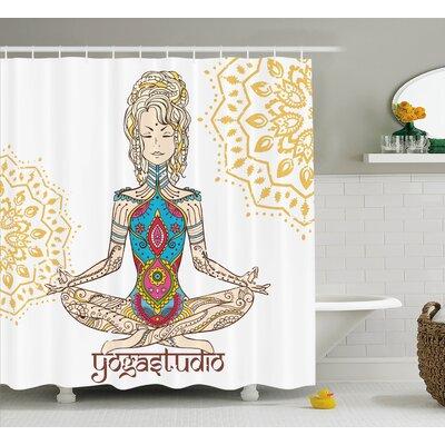 Hanson Chakra Girl Shower Curtain Size: 69 W x 70 H