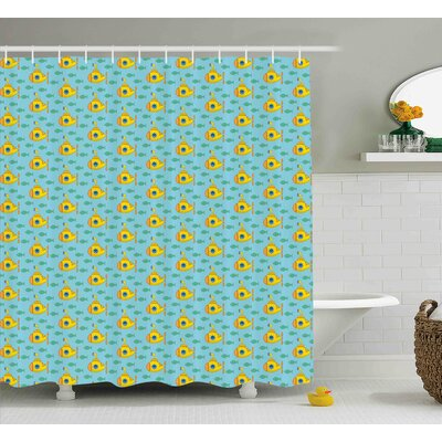 Janice Yellow Submarine Aqua Pattern With Little Fish Fun Nautical Porthole Periscope Ocean Theme Shower Curtain Size: 69 W x 70 H