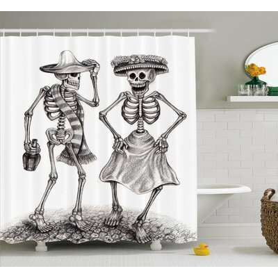 Kristie Day of The Dead Festive Celebration Mexican Dancing Couple Skeleton Art Print Shower Curtain Size: 69 W x 70 H