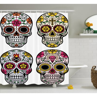 Kayden Day of The Dead Dia De Los Muertos Festive Celebration Skull Art Image Shower Curtain Size: 69 W x 70 H