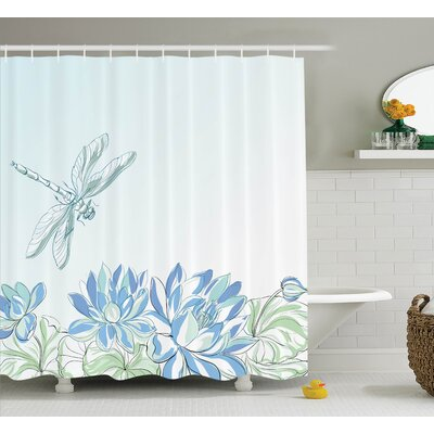 Peterman Country Waterlilies Flowers and Dragonflies Simplistic Home Eco Nature Theme Artwork Shower Curtain Size: 69 W x 75 H