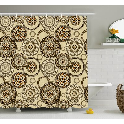 Athens African Safari Cheetah Skin Print Wild Animal Theme Neutral Color Decor Shower Curtain Size: 69 W x 70 H