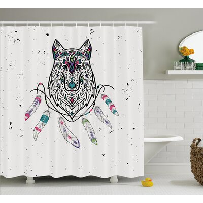 Shelly Tribal Wild and Free Inspirational Art Indian Wolf With Boho Feathers Print Shower Curtain Size: 69 W x 70 H