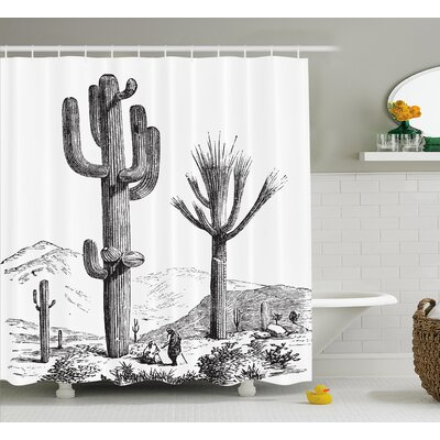 Brigitte Cactus Sketchy Hand Drawn Print of Desert Plants With Mexican Travellers Image Shower Curtain Size: 69 W x 70 H