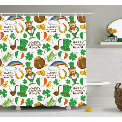St. PatrickS Day Irish Party Pattern Beer Leprechaun Flag Hearts Rainbow Gold and Shamrock Shower Curtain Size: 69 W x 70 H