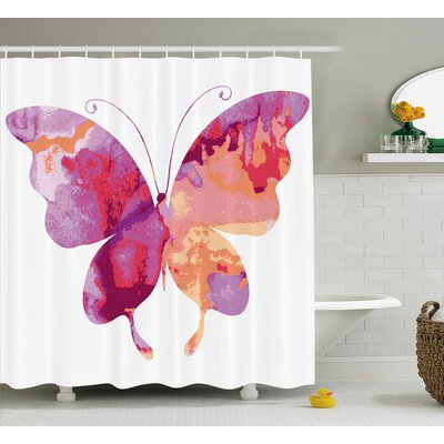 Annette Watercolor Aquarelle Butterfly Figure Shower Curtain Size: 69 W x 84 H