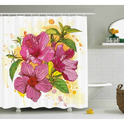 Adrienne Vibrant Hibiscus Flower Bouquet Exotic Elegance Watercolor Art Shower Curtain Size: 69 W x 70 H