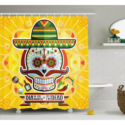 Lucile Day of The Dead Mexican Sugar Skull With Tacos and Chili Pepper November 2Nd Colorful Art Shower Curtain Size: 69 W x 70 H