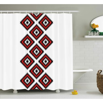 Susie Tribal Native American Zig Zag Aztec Ethnic Motif With Embroidery Ornaments Image Shower Curtain Size: 69 W x 70 H