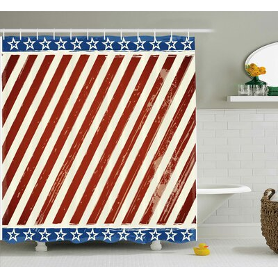 4th of July American Puppy With Peace Fingers Gesture Humor National Day Victory Design Shower Curtain Size: 69 W x 70 H