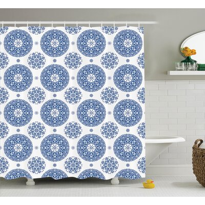 Hayes French Country Style Floral Circular Pattern Lace Snowflake Design Print Shower Curtain Size: 69 W x 75 H