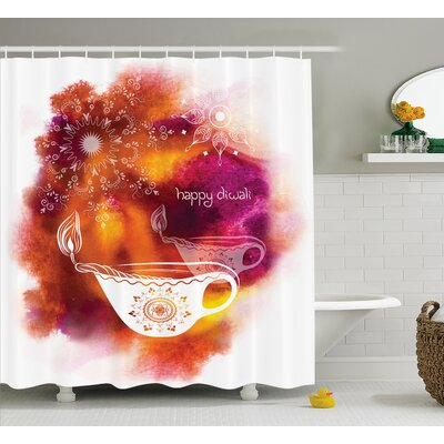 Crawford Diwali Rainbow Colored Like Brush Print With Religious Festive Diwali Art Candles Shower Curtain Size: 69 W x 70 H