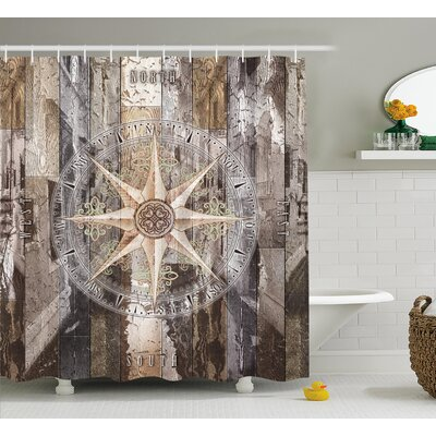 Dryden Navy Sea Life Yacht Theme Colored Wood Backdrop With Rudder Like Compass Image Shower Curtain Size: 69 W x 75 H