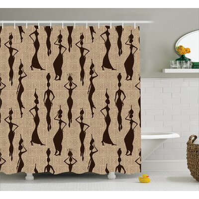 Hamdisse Modern Pattern With Primitive Effects and Ethno Stripes Backdrop Illustration Shower Curtain Size: 69 W x 84 H