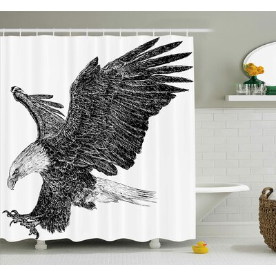 Byrine Animal Bald Eagle Swoop Hand Drawn Sketchy Figure Flying Hunter Wildness Artwork Shower Curtain Size: 69 W x 70 H