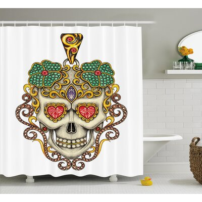 Zinnia Day of The Dead Sugar Skull With Heart Pendants and Floral Jewelry Print Shower Curtain Size: 69 W x 70 H